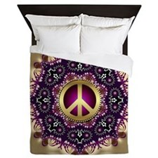 Bohemian Gold Peace Symbol Queen Duvet