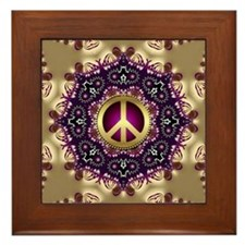 Bohemian Gold Peace Symbol Framed Tile