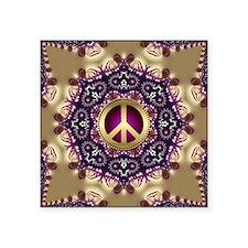 "Bohemian Gold Peace Symbol Square Sticker 3"" x 3"""