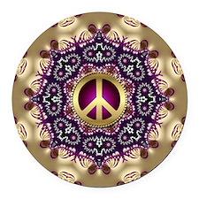 Bohemian Gold Peace Symbol Round Car Magnet