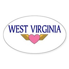 Flying Heart WV Oval Decal