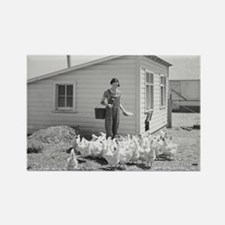 Farm Girl Feeding Chickens, 1936 Magnets