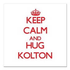 "Keep Calm and HUG Kolton Square Car Magnet 3"" x 3"""