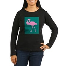 Pink Flamingo With Martini On T-Shirt