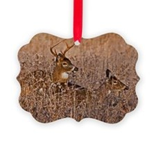Whitetail Buck and Doe Mating in  Ornament