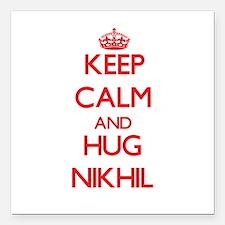 "Keep Calm and HUG Nikhil Square Car Magnet 3"" x 3"""