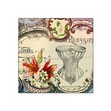"vintage lily floral paris c Square Sticker 3"" x 3"""