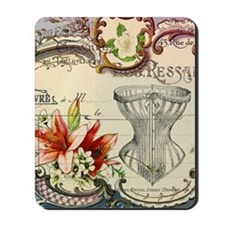 vintage lily floral paris corset girly f Mousepad