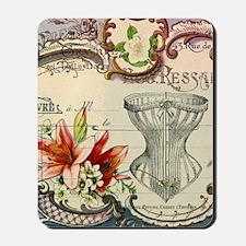 vintage lily floral paris corset girly f Mousepad