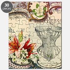 vintage lily floral paris corset girly fash Puzzle