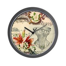 vintage lily floral paris corset girly  Wall Clock