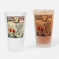 vintage lily floral paris corset gi Drinking Glass