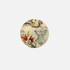 vintage lily floral paris corset girly Mini Button