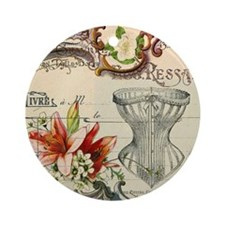 vintage lily floral paris corset gi Round Ornament