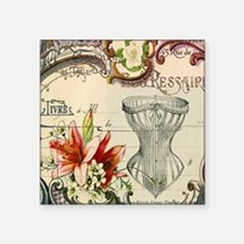 """victorian lily vintage cors Square Sticker 3"""" x 3"""""""