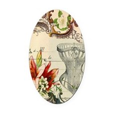 victorian lily vintage corset girl Oval Car Magnet