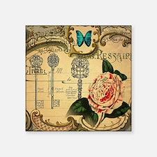"""butterfly rose vintage keys Square Sticker 3"""" x 3"""""""