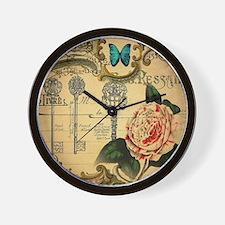 butterfly rose vintage keys victorian Wall Clock