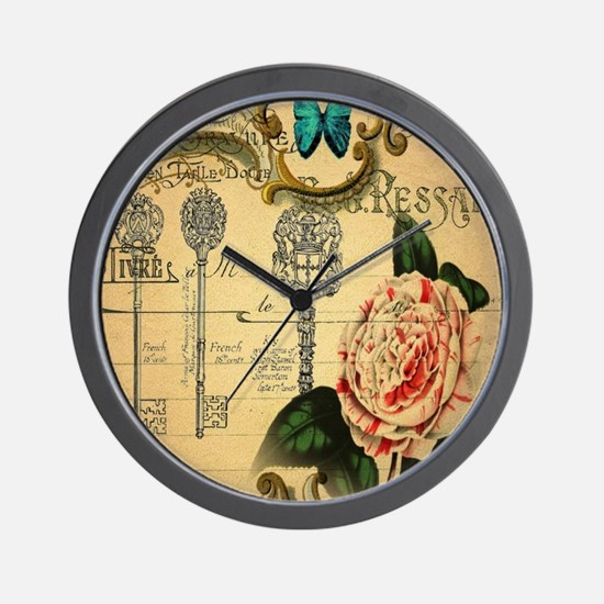 butterfly pink rose vintage victorian b Wall Clock