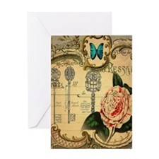 butterfly pink rose vintage victoria Greeting Card