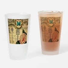 butterfly pink rose vintage victori Drinking Glass