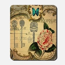 butterfly pink rose vintage victorian bo Mousepad