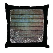 vintage lace blue barn wood country Throw Pillow