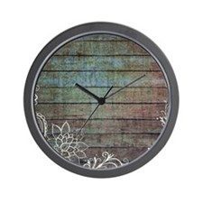 vintage lace blue barn wood country Wall Clock