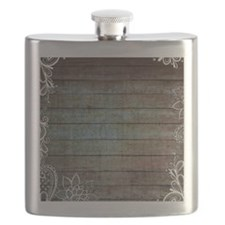 vintage lace blue barn wood country Flask