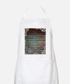 vintage lace blue barn wood country Apron