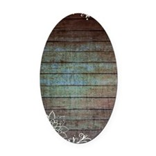 vintage lace blue barn wood countr Oval Car Magnet
