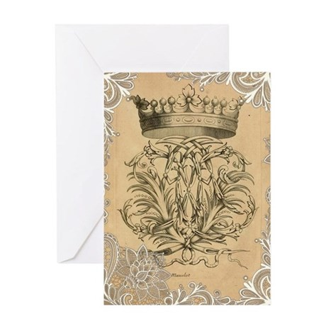 lace vintage crown flourish swirls v Greeting Card