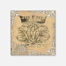 """lace vintage crown flourish Square Sticker 3"""" x 3"""""""