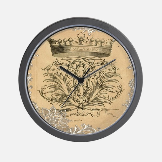 lace vintage crown flourish swirls vict Wall Clock