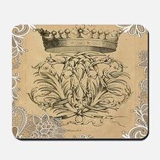 lace vintage crown flourish swirls victo Mousepad