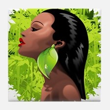 Woman African Beauty and Bamboo Tile Coaster
