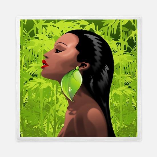 Woman African Beauty and Bamboo Queen Duvet