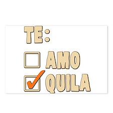 Te Amo Tequila Spanish Choice Postcards (Package o