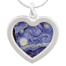 Starry Night Silver Heart Necklace