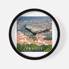 Prague Charles Bridge over Vltava river Wall Clock