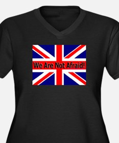 We Are Not Afraid Women's Plus Size V-Neck Dark T-