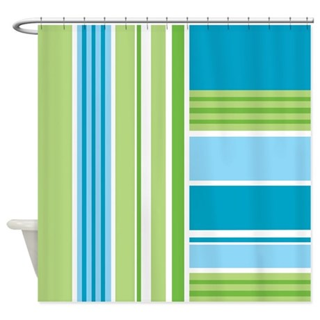 Blue And Green Stripes Shower Curtain By Attitudeattic