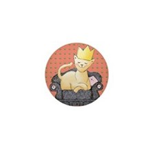 King Cat with a Crown Mini Button