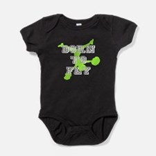 Born to Fly green cheerleader Baby Bodysuit