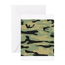 Green Army Camo Greeting Cards