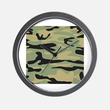Green Army Camo Wall Clock
