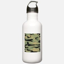 Green Army Camo Sports Water Bottle