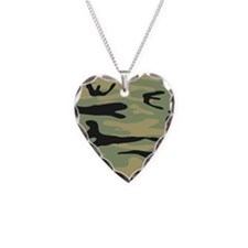 Green Army Camo Necklace Heart Charm