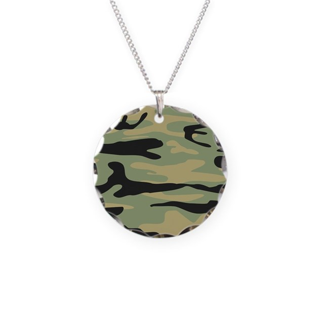 green army camo necklace circle charm by admin cp49789583