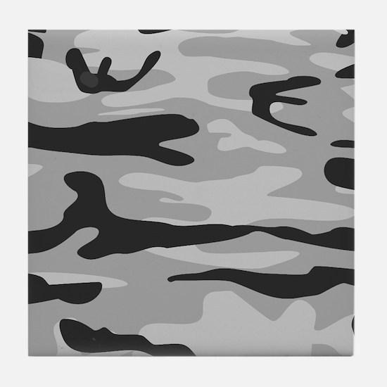 Grey Army Camo Tile Coaster
